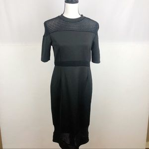 Asos Half Sleeve Crochet Laser Cut Dress Black 8